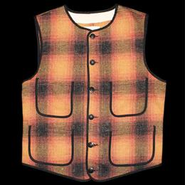 "Nisus Hotel ""Wool Vest""【Orange/Plaid】"