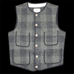 "Nisus Hotel ""Wool Vest""【M.Green/Plaid】"