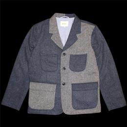 "NISUS HOTEL ""3 BTN Crazy Tweed Jacket""【Grey/Navy】"
