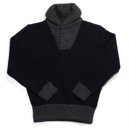 "Nisus Hotel ""Shawl Collar Sweater""【NAVY/GREY】"