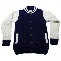 "HOUSTO ヒューストン ""Hand Knit Cardigan""Knit Award Jaket【Navy/White】"